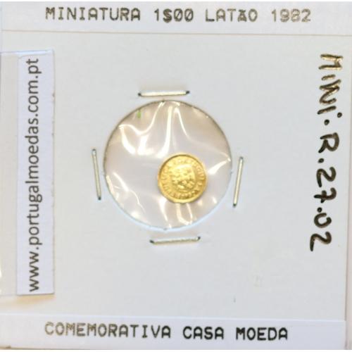 Miniatura de moeda de 1 escudo 1982 em latão níquel emissão comemorativa da Casa da Moeda para oferta ou promoção de eventos