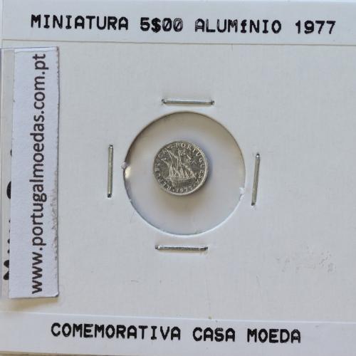 Miniatura de moeda de 5$00 1977 em alumínio, emissão da Casa da Moeda para promoção de eventos