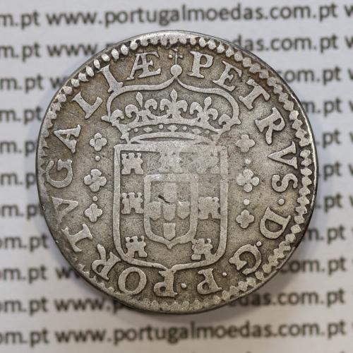 Moeda tostão Prata D. Pedro Príncipe Regente (1667-1683), variante 3 florões 2 pontos a ladear o escudo  (A. Gomes PR.52.01)