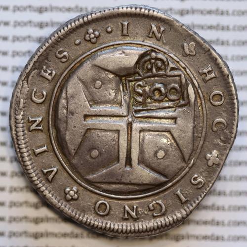 Cordão e cunho Orla Nova de D. Pedro II 1698 sobre Cruzado D. João IV 1640-1656, com carimbo 500 Réis de D. Afonso VI 1656-1667