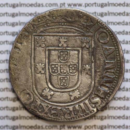 Moeda Tostão Prata de D. João III 1521-1557, cruz da Ordem de Avis  (3º Tipo), 100 REAIS LEGENDA: IOHANNES:III:REX:PORTV:ETAL