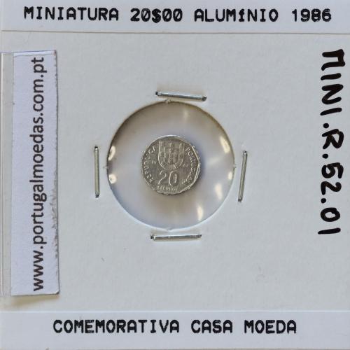 Miniatura de moeda de 20$00 1986 em alumínio, emissão da Casa da Moeda para promoção de eventos