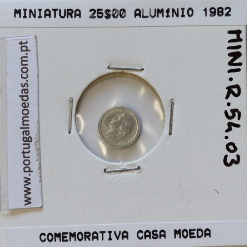 Miniatura de moeda de 25$00 1982 em alumínio, emissão da Casa da Moeda para promoção de eventos