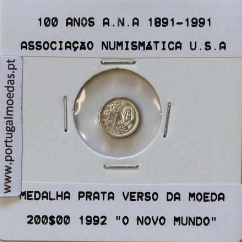 Miniatura de moeda de 100 Anos A.N.A 1891-1991 em alumínio
