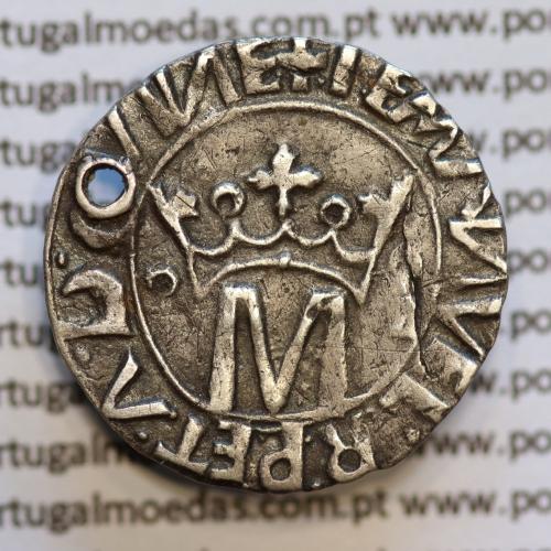 Vintém Prata de D. Manuel I 1495-1521, Lisboa, Variante não catalogada +I EMANVEL.R:P.ET.A.D.GVINE / +I EMANVEL:R.P:ET.A