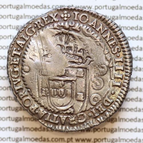Cunho Orla Nova de D. Pedro II sobre Meio Cruzado prata D. João IV, não classificada +IOANNES.IIII.DEI.GRATIA.PORTVG.ET.ALG.REX.