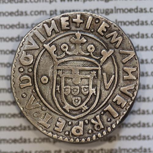 Tostão Prata D. Manuel I 1495-1521, Código A. Gomes 45.06, +I:EMANVEL:R:P:ET:A:D:GVINE / +IN+HOC+SIGNO+VINCES