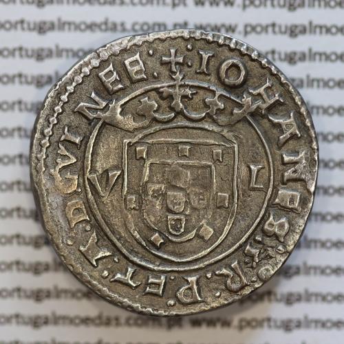 Moeda Tostão Prata de D. João III 1521-1557, não classificada, +:IOHANES:3:R:P:ET:A:D:GVINEE: / :IN+HOC+SIGNO+VINCE:S