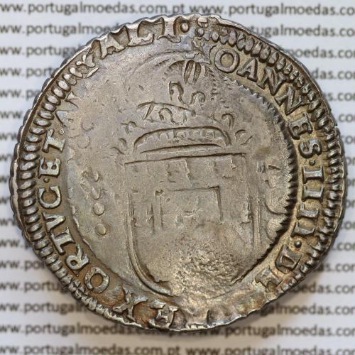 Cordão e cunho Orla Nova de D. Pedro II 1698 sobre Cruzado prata D. João IV, Não Classificada na orla tipo (b) .DEI.GRATIA