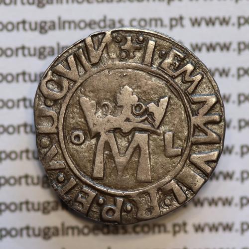 Vintém Prata de D. Manuel I 1495-1521, Lisboa, Variante não catalogada +.I.EMANVEL.R.P.ET.A.D.GVIN / .I:EMANVEL.R.P.ET.A.D.G.E.