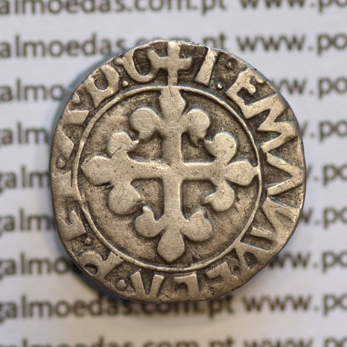 Meio Vintém Prata de D. Manuel I 1495-1521, Lisboa, (A. Gomes 18.01) +I:EMANVEL:R:P:ET.A.D.G / +I:EMANVEL:R:P:ET:A:D:G
