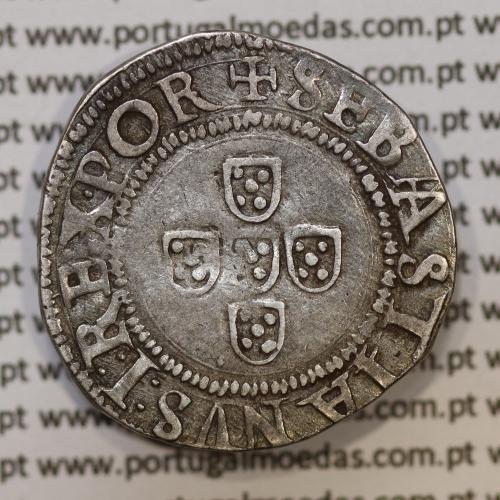 Moeda Meio Tostão prata, D. Sebastião I (1557 -1578)  SEBASTIANVS:I:REX.POR / .IN.HOC.SIGNO.VINCES