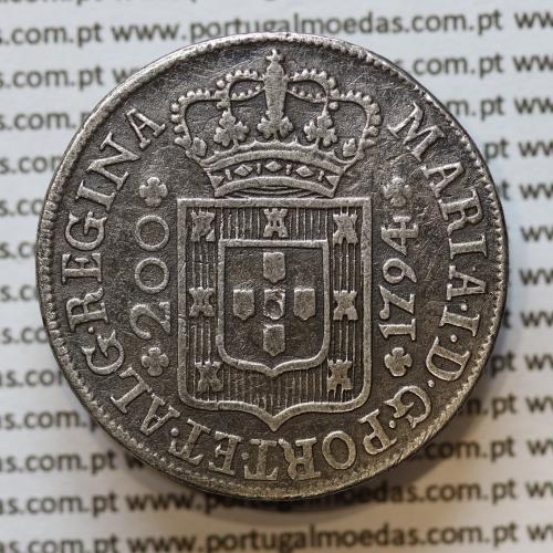 "Moeda 12 Vinténs Prata 1794 D. Maria I ""Viúva"" (1786 -1799), Coroa Alta - A. Gomes 16.05  World Coins Portugal  KM 307"