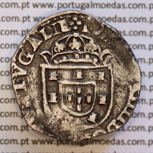 Moeda Tostão Prata  D. João IV 1640-1656, 100 Reais prata  +IOANNES IIII DG REX PORTVGALIE / +INHOC.SIGNO.VINCES