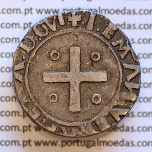 Moeda Meio Tostão Prata de D. Manuel I 1495-1521, Legenda : +:I:EMANVEL:R:P:ET:A:D:GVINE: / +:I:EMANVEL:R:P:ET:A:D:GVI: