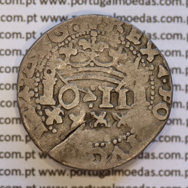 Real Português prata de D. João III 1521-1557, (Anverso J3.80.03 Reverso J3.80.01) +REX∵PORTVGALIE∵ALG: / +IN∵HOC∵SIGNO∵VICES