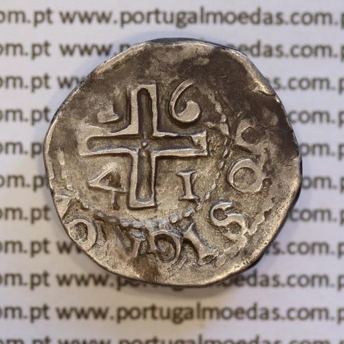 Moeda Meio Tostão prata 1641 de D. João IV 1640-1656, ✤IOANNES IIII DG REX.P / ✤IN HOO SIGNO VINCES (A. Gomes 38.03 variante)
