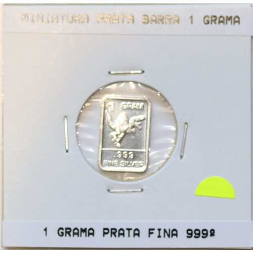 Miniatura prata barra 1 grama, emissão da Casa da Moeda para promoção de eventos