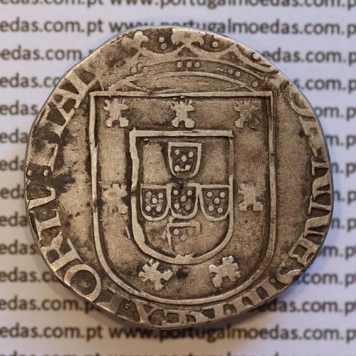 Tostão Prata lisboa de D. João III 1521-1557, cruz da Ordem de Avis, IOANNES.III.REX.PORTV:ETAL / ⌘INᐃHOCᐃSIGNOᐃVINCES