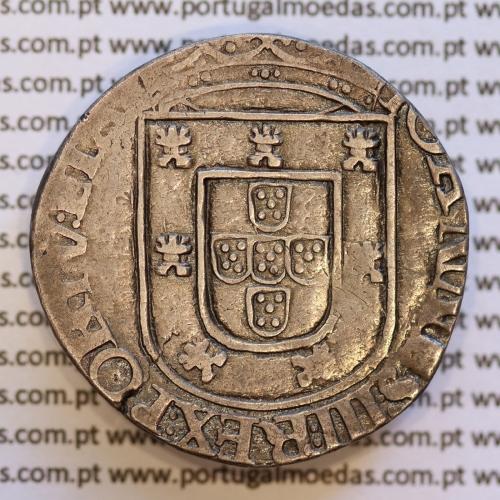 Moeda Tostão Prata de D. João III 1521-1557, cruz da Ordem de Avis  (3º Tipo), 100 REAIS, LEGENDA: IOANNES:III:REX:PORTV:ETAL