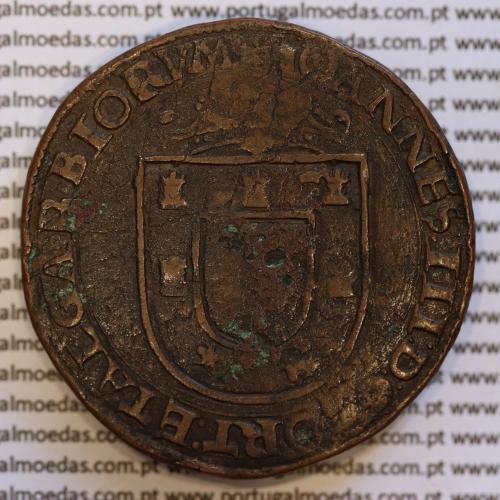 X Reais ou Patacão Cobre de D. João III 1521-1557, Escudo Solto, ☩IOANNES:III:D:G:PORT:ETALGARBIORVM / •REX•QVINTVS•DECIMVS