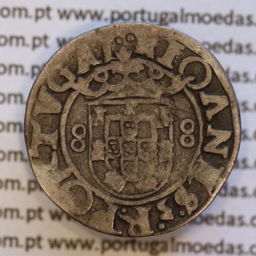 Vintém prata de D. João III 1521-1557, Não catalogada, arruelas duplas, ✧IOANES:3:R:PORTGALIE.AL⠁ / ⠁⠁✧IOANES.3.R.PORTVGAL⠁