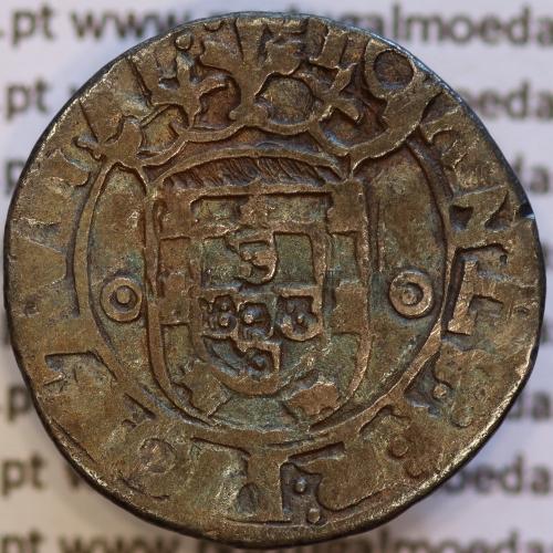 Vintém prata de D. João III 1521-1557, arruelas pontuadas, +˙IOANES:3:R:PORTGAL:  / ˙IOANES:3:R:PORTVGAL˙