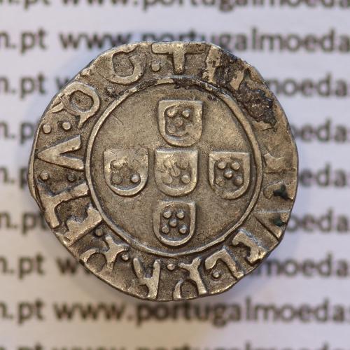 Meio Vintém Prata de D. Manuel I 1495-1521, Porto, (A. Gomes 23.06) +EMAnVEL:P:R:P:ET:A:D:G. / +EMAnVEL:P:R:P:ET:A:D:GE.