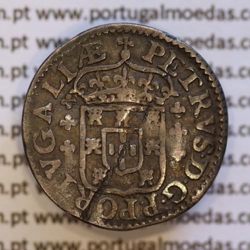 Meio Tostão prata de D. Pedro Príncipe Regente (1667-1683), A. Gomes PR.47.01 (variante Eixo Vertical)