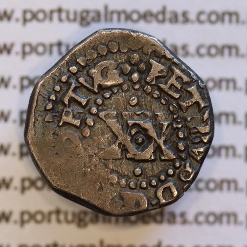 Vintém prata de D. Pedro Príncipe Regente (1667-1683), A. Gomes PR.17.02 Legenda: ✤PETRVS.D.G.P.PORTVG / ✤IN HOC SIGNO VINCES