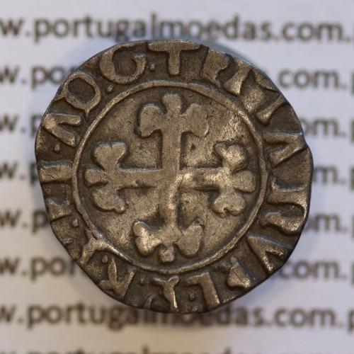 Meio Vintém Prata de D. Manuel I 1495-1521, (Não classificada no A. Gomes) +EMAnVEL.PR.P.ET.A.D.G. / +EMAnVEL.P.R.P.ET.AD.G.