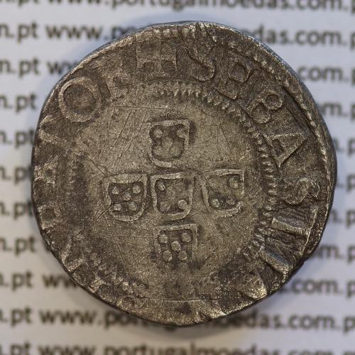 Moeda Meio Tostão prata, D. Sebastião I (1557 -1578)  +SEBASTIANVS:I:REX.POR / .IN.HOC.SIGNO.VINCES