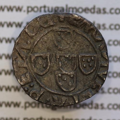 Meio Vintém Prata de D. Manuel I 1495-1521, (não classificada A. Gomes) +EMANVEL:I:R:P:ET.A.D.G. / +EMANVEL:I:R:P:ET:A:D:G