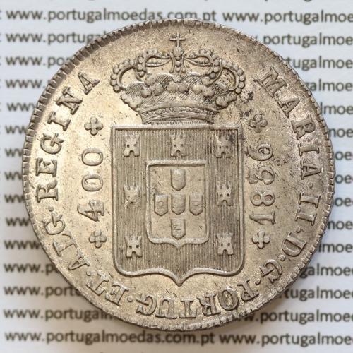 """Cruzado Novo Prata 1836 D. Maria II, 480 Réis, (Soberba),  Cruz raiada ou irradiada """"❇"""",  World Coins Portugal  KM403.2"""