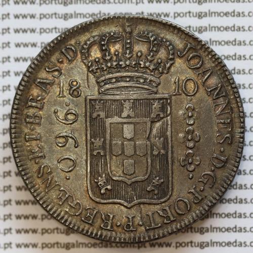 """Patacão ou 960 Réis 1810 Prata D. João Príncipe Regente (Brasil), """"R"""" Rio, World Coins Brasil KM307.3"""
