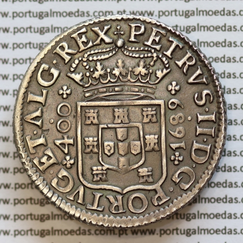 Cruzado Novo Prata 1689 D. Pedro II, 480 Réis 1689, pontos no campo, pedúnculos baixos perolados, World Coins Portugal KM154.2