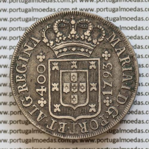 Cruzado Novo Prata 1793 D. Maria I, 480 Réis prata 1793, coroa alta, R/ pétalas fechadas, World Coins Portugal  KM288