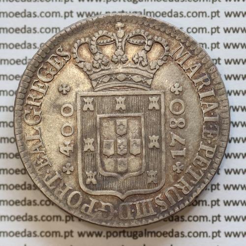 """Cruzado Novo prata 1780 D. Maria I e D. Pedro III, Coroa alta diadema losango 4 pontos e com cruz Potentada """"☩"""""""