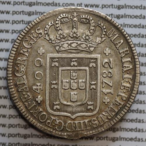 Cruzado Novo Prata 1782 D. Maria I e D. Pedro III, 480 Réis prata 1782, Coroa media, World Coins Portugal KM273