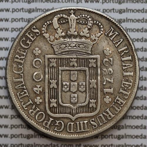 """Cruzado Novo prata 1782 D. Maria I e D. Pedro III, Variante Rara, Legenda """"PORTETALG"""" sem pontos"""