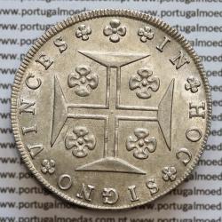 Cruzado Novo Prata 1821 D. João VI, 480 Réis prata 1821, Coroa alta e algarismos grandes, R/ pétalas abertas