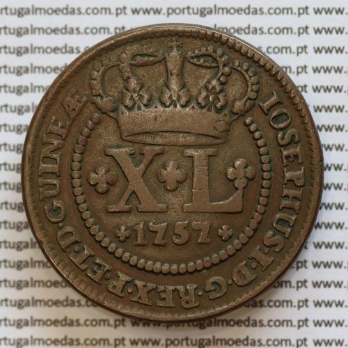 "Moeda XL Réis Cobre 1757 (2 vinténs ou 40 réis) Angola e Brasil, ""GUINEÆ"" Reinado de D. José I - World Coins Angola  KM9"