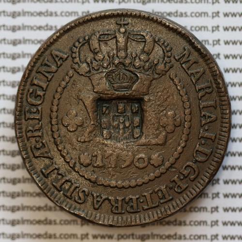 """Moeda rara com duplo Carimbo sobre XL Réis Cobre 1790 - carimbo """"Escudete"""" Brasil + carimbo """"Coroa Pequena"""" S. Tomé e Príncipe"""