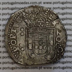Meio Cruzado em prata 1663 de D. Afonso VI, ✣ALPHONSVS.VI.DG.REX.PORTVGALI / ✣IN.HOC.SIGNO.VINCES, World Coins Portugal KM82