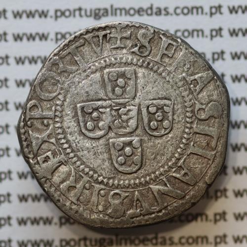 Meio Tostão prata, D. Sebastião I (1557 -1578), (50 Reais)  ✠SEBASTIANVS:I:REX.PORTV / ✸IN:HOC:SIGNO:VINCES, (A. Gomes Se.39.04)