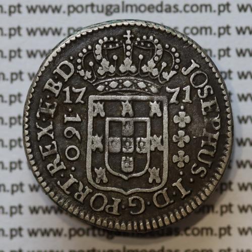 160 Réis 1771 Prata D. José I (Brasil), 1/2 Pataca, Variante com adorno braço inferior da cruz, World Coins Brasil  KM191