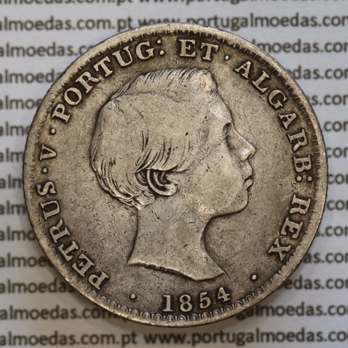 """500 réis 1854 prata D. Pedro V, """"5 Tostões prata 1854"""" (MBC), World Coins Portugal KM 492"""