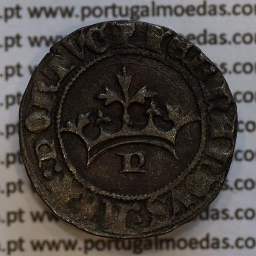 Pilarte Coroado em Bolhão D. Fernando I 1367-1383, com 2 sinais ocultos, Leg.: ☩FERNANDVS:REX:PORTV / ⚄SID⚄NIS⚄MIC⚄HI: