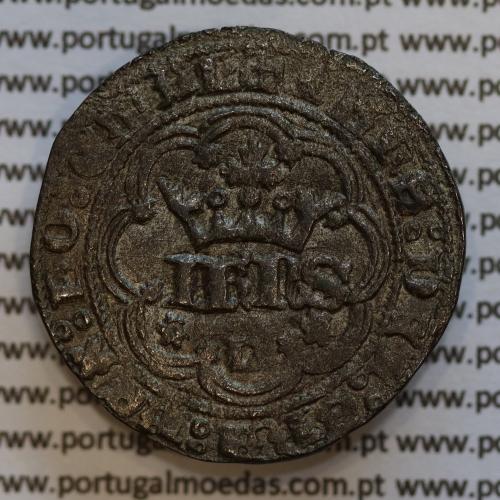 """Moeda Real de Três e Meia Libras de D. João I 1385-1433, """"L"""" Lisboa, legenda: ☩IHNS⦂DEI⦂GRA⦂REX⦂PO⦂ETAL / ☩ADIVTORIVN⦂NOSTRVM⦂"""