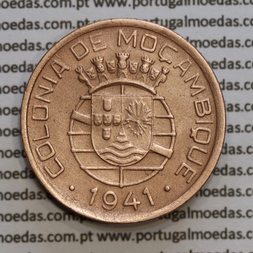 Moeda 20 centavos 1941 Cobre de Moçambique, $20 Cobre 1941 Moçambique Ex-Colónia Portuguesa, (MBC),  World Coins Mozambique KM71